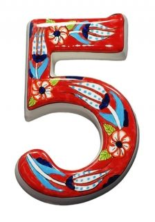 Large Ceramic House address number 5, Red, 4.7inch Tall, Hand Decorated, House number signs, Door numbers, Housewarming gifts