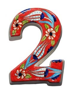 Large Ceramic House address number 2, Red, 4.7inch Tall, Hand Decorated, House number signs, Door numbers, Housewarming gifts