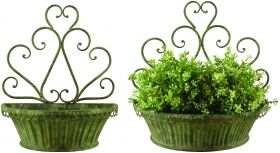 Aged Metal Green wall Planter