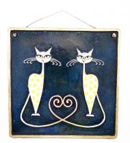Handmade Ceramic Cats in Love Wall Art, Blue, Ceramic Art, Sculptural Ceramic tile, Wall Hanging, Home decor, Pastel Wall Decor, Gift For Home