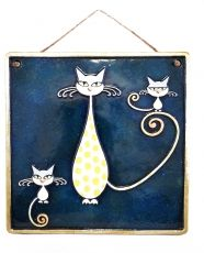 Handmade Ceramic Mother Cat And 2 Kittens Wall Art, Blue, Ceramic Art, Sculptural Ceramic tile, Wall Hanging, Home decor, Pastel Wall Decor, Gift For Home