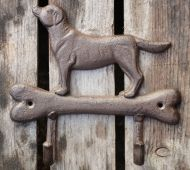 Dog on Bone Double Hook, Cast Iron, Antique Brown