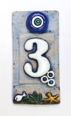 Ceramic Tile House Address Numbers, 4.72inch X 2.28inch, Hand Decorated, House Number Signs, Door Numbers, Vintage Housewarming Gifts Number 3