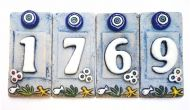 Ceramic Tile House Address Numbers, 4.72inch X 2.28inch, Hand Decorated, House Number Signs, Door Numbers, Vintage Housewarming Gifts Number 4