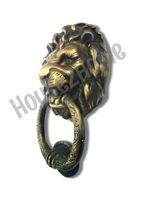 Handmade Aged Brass Lion Door Knocker, Decorative Lion's Head Gate Knocker