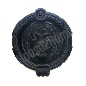 Handmade Castiron Sandringham  Lion Door Knocker, Decorative Lion's Head Gate Knocker, Black