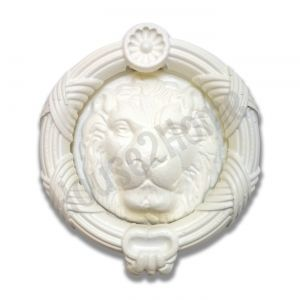 Handmade Castiron Sandringham  Lion Door Knocker, Decorative Lion's Head Gate Knocker, White