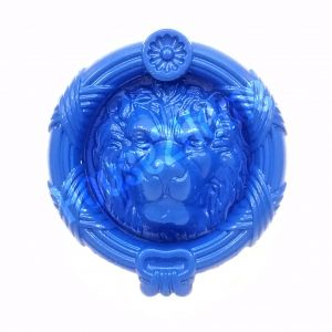 Handmade Castiron Sandringham  Lion Door Knocker, Decorative Lion's Head Gate Knocker, Blue
