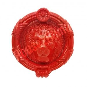 Handmade Castiron Sandringham  Lion Door Knocker, Decorative Lion's Head Gate Knocker, Red