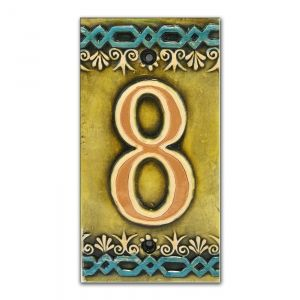 Ceramic Tile House Address Numbers, 4.72inch X 2.28inch, Hand Decorated, House Number Signs, Door Numbers, Vintage Housewarming Gifts  Number 0