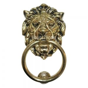 Anatolica Regency Lions Head Solid Brass Door Knocker,Aged