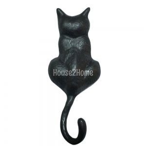 Anatolica The Sitting Cat Solid Brass Door knocker, Black Oxide Patina