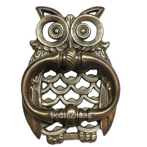 Anatolica Owl Shaped Solid Brass Door Knocker, Antique Brass Patina