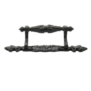 Traditional design 8.66 Antique Brass Ornate Door Pull handle on Shaped Plate Black 22 cm