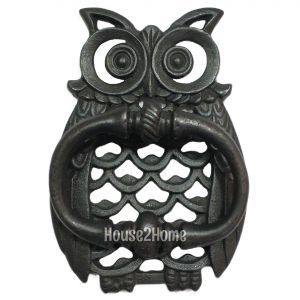 Anatolica Owl Shaped Solid Brass Door Knocker, Black Oxided Finish